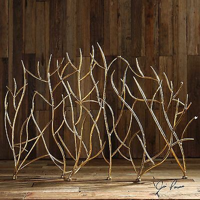 """Stately 48"""" Branch Style Metal Decorative Fireplace Screen Bright Gold Finish"""