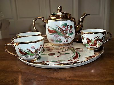 Vintage Chinese Tea Set - Phoenix Dragon - Includes Tea Pot, 3 cups and tray