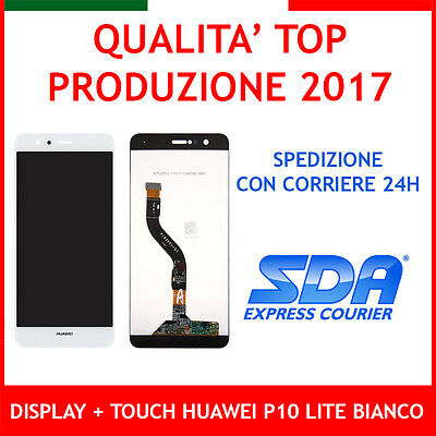 Lcd Display + Touch Screen Per Huawei P10 Lite Bianco White