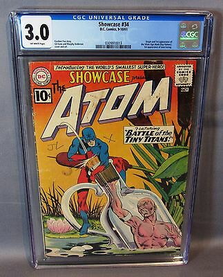 SHOWCASE #34 (Atom 1st appearance, Silver Age) CGC 3.0 GD/VG DC Comics 1961 cbcs