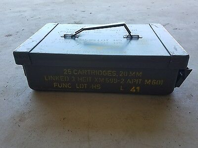 Vtg US Military 20mm Ammo Can Box for M139 gun 25 cartridges