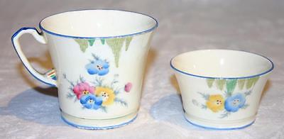 Crown Devon Fieldings Rare Dubarry #2449 Cup and Bowl