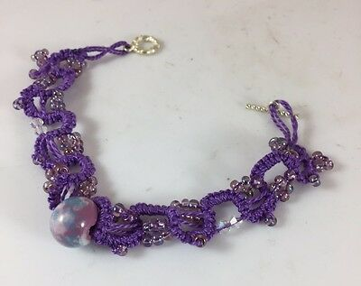 """American Made Tatted Jewelry - 8.5"""" Purple Beaded Bracelet In Pearl Luster"""