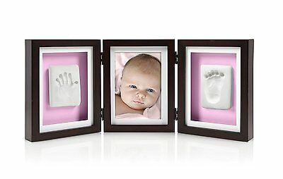 Pearhead Babyprints Baby Handprint and Footprint Deluxe Desk Photo Frame & Kit,