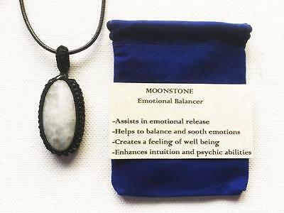 Moonstone Pendant Crystal Gemstone Necklace, Adjustable Cord, Velvet Pouch