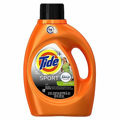 Tide Plus Febreze Sport Active Fresh Sport Liquid Laundry Detergent, 92 oz / 48