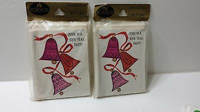 Vintage Set of 2 New Years Party Invitations Norcross New in Package 20 in Total