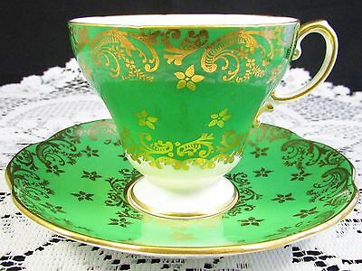 Foley Emerald Green Decorative Gold Gilt Floral Tea Cup And Saucer