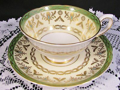 Royal Grafton Sage Green Ornate Gold Designs Tea Cup And Saucer