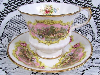 Paragon Chippendale Pink Roses Cottage Scene Tea Cup And Saucer