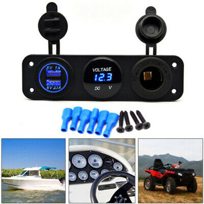 3 Hole Car Boat Panel Dual USB Charger+Blue LED Voltmeter+12V Socket Waterproof