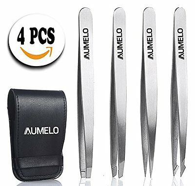 Tweezers Set 4-Piece Professional Stainless Steel with Travel Case