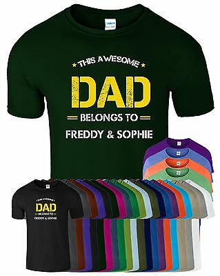 Father's Day Gift THIS AWESOME DAD Mens T shirt BELONGS TO Personalised T-shirt
