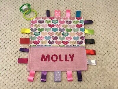 Baby Girls Personalised Taggy Security Blanket - Hearts -