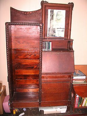 Golden Oak Secretary Bookcase Drop Front Desk  Antique Furniture