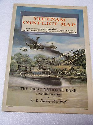 Vintage Vietnam Conflict Map 1966 First National Bank Newport Ar. Cambodia Laos