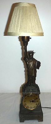 Vintage 30s Statue of Liberty Kienzle Quartz Clock Lamp New York Souvenir ~Works