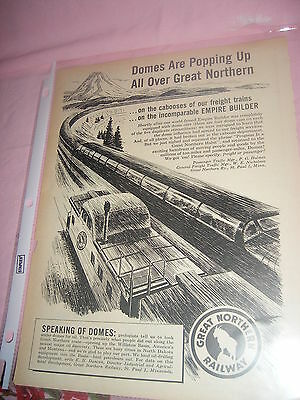 Vintage 1950s magazine Ad Great Northern Raiway featuring the Dome Car