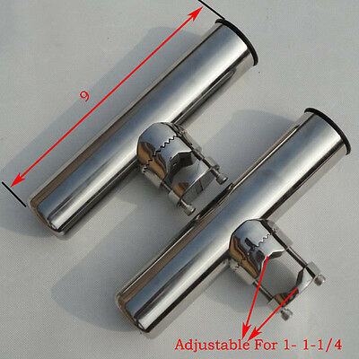 """2PCS Stainless Steel Clamp On Fishing Rod Holder 1"""" to 1-1/4'' Tube Practical"""