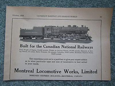 1924  Ad Montreal Locomotive Works Canadian National Railways Engine 3533
