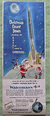 1959 Canadian Ad Space Age Waterman's Pen Santa Claus Rocket Launch