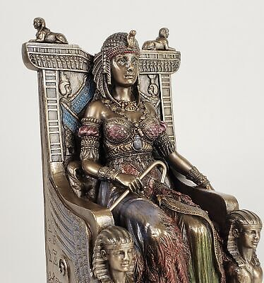 EGYPTIAN QUEEN CLEOPATRA on Throne Statue / Sculpture Bronze Finish egypt