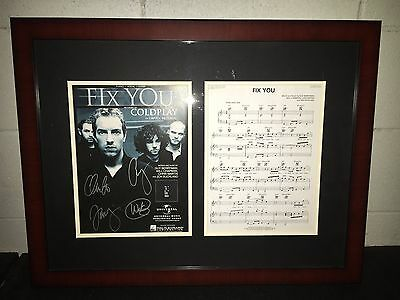 Coldplay X4 Chris Martin Johnny Guy & Will Signed Fix You Poster Framed Cfp Coa