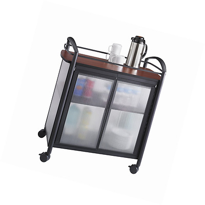 Safco Products 8966BL Impromptu Refreshment Hospitality Cart, Cherry Top/Black F