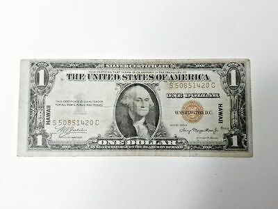 1935 A Hawaii Overprint U.S. Silver Certificate $1 Note Paper Money 1420