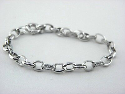 Diamond Rolo Link Bracelet  in 14k White Gold ( 0.10 Tcw.)