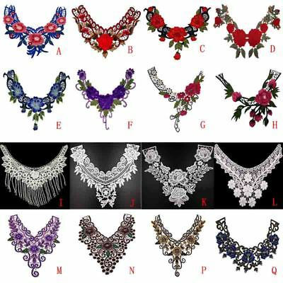 Lace Embroidered Floral Neckline Neck Collar Trim Clothes Sewing Applique Beauty