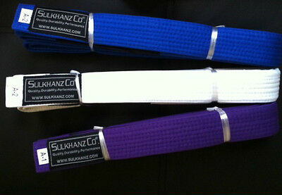 BJJ Belts Brazilian Jiu Jitsu WHITE, BLUE & PURPLE A1 A2 A3 Sizes