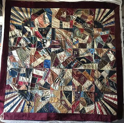Antique 1882 Crazy Quilt With Ribbons Provenance