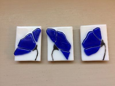 Cobalt Blue Flower Stained Glass Handmade Kitchen Magnet Set Of Three