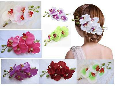 Orchid Hair Clip Bridal Wedding Fascinator 50s PinUp Accessory Party Stunning
