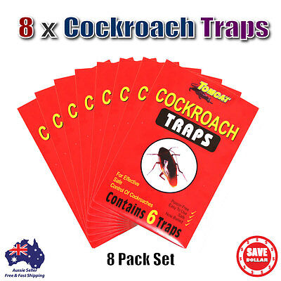 8 Packs 48 Traps New Tomcat Glue Sticky Cockroach Bait Insect Pest Control Bug
