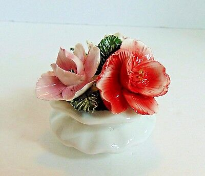 "Vintage Collectible Lefton Small Flower Pot 3"" X 4"" Yellow Pink Red Floral Nice"