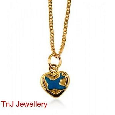 Genuine 925 Sterling Silver Heart Pendant With Bluebird Yellow Hard Gold Plated