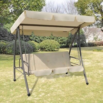 # Outdoor Swing Recliner Garden Sun Bed Hammock Daybed Shade Canopy Patio White