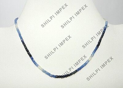 "1PC 18"" Strand Shaded Sapphire 3-4.5mm rondelle gemstone beaded necklace jewelry"