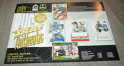 2004 Nrl Rugby Select Authentic Official Card Flyer - Team Set Signature