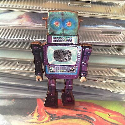 BROOCH vintage toy Robot Wooden badge quirky jewellery retro wood lapel pin