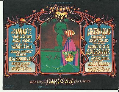 Vintage Fillmore West Postcard Bill Graham 1st Print 1968 The Who Grateful Dead