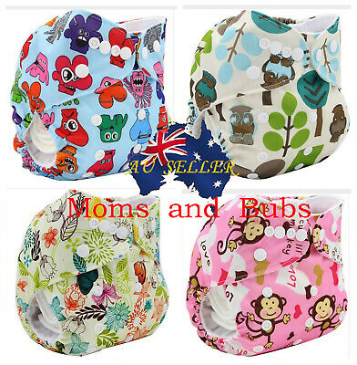 Modern Cloth Nappy Diaper with Inserts Reusable Washable MCN 4Pack Design 1
