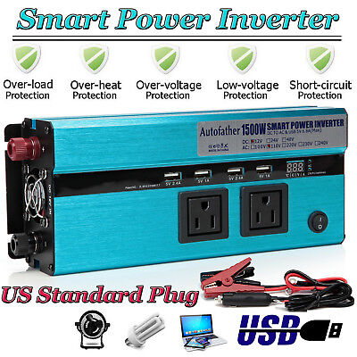Car Power Inverter Charger 1500 Watts DC to AC Modified Sine Wave Inverter