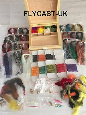 Fly Tying Materials Kit, feather,Wool, Brass Beads, Tinsel, Floss, zonker, hooks