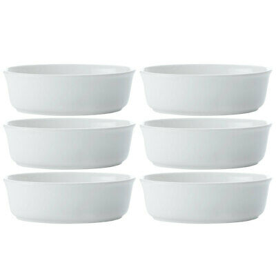 6pc Set Maxwell & Williams 18cm White Basics Oval Pie Deep Dish/Bowl/Baking Tray