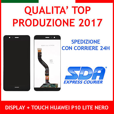 Lcd Display + Touch Screen Per Huawei P10 Lite Nero Black