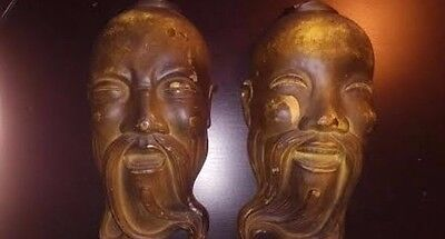 2 Vintage Asian Chinese Face Head Mask Cermaic Copper Wall Decor Early 1900's