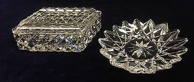 Vintage Cut Crystal Trinket Lidded Box and Ring Dish